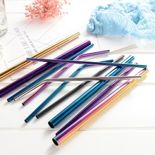 5pcs Reusable Straw Stainless Steel Metal Multi-color Eco-friendly For Bar Home Office Straws