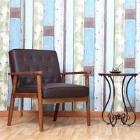 Retro Modern Fabric Upholstered Wooden Lounge Chair Brown Living Room Chairs Antique Sofa Brown Black