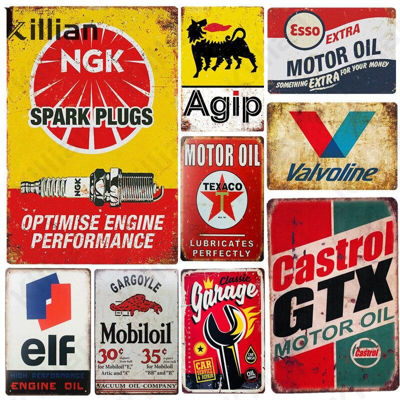 Металлическая пластина в стиле ретро американский мотор Oil, модный металлический плакат, металлический знак, Стояночная заправочная станци...