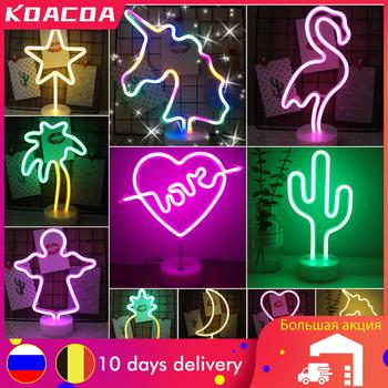 USB znak neonowy LED Holiday Flamingo lampka nocna dekoracja świąteczna weselna lampka nocna prezent domowy jednorożec serce lampa neonowa tanie i dobre opinie KOACOA atmosferyczne ROUND CN (pochodzenie) S390042 Lampki nocne LITHIUM ION Żarówki LED Touch 0-5 w
