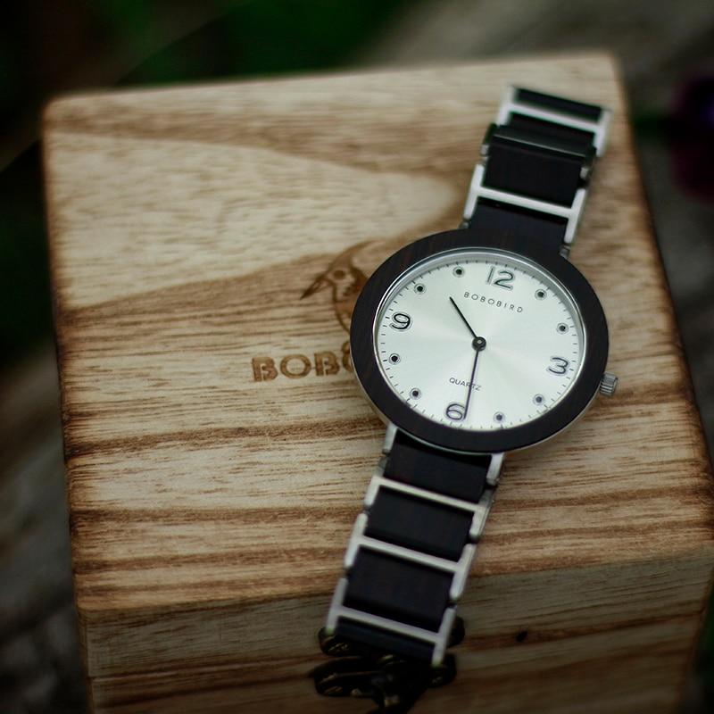 BOBO BIRD Men s Watch Waterproof Ultra Thin Wood Watches Luxury Japanese Quartz Wooden Couples Stainless