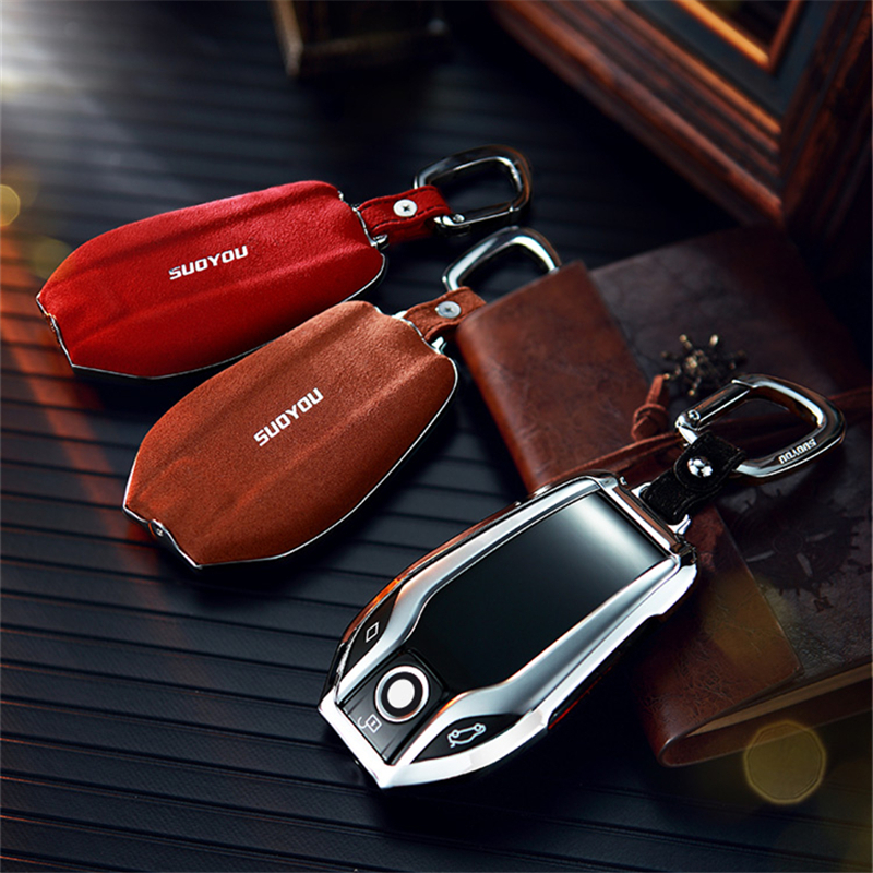 For BMW 7 Series i8 730li 740li 750li 2017 2018 5 Series G30 X3D Display Suede Leather Zinc alloy Car Key Protection Case Cover