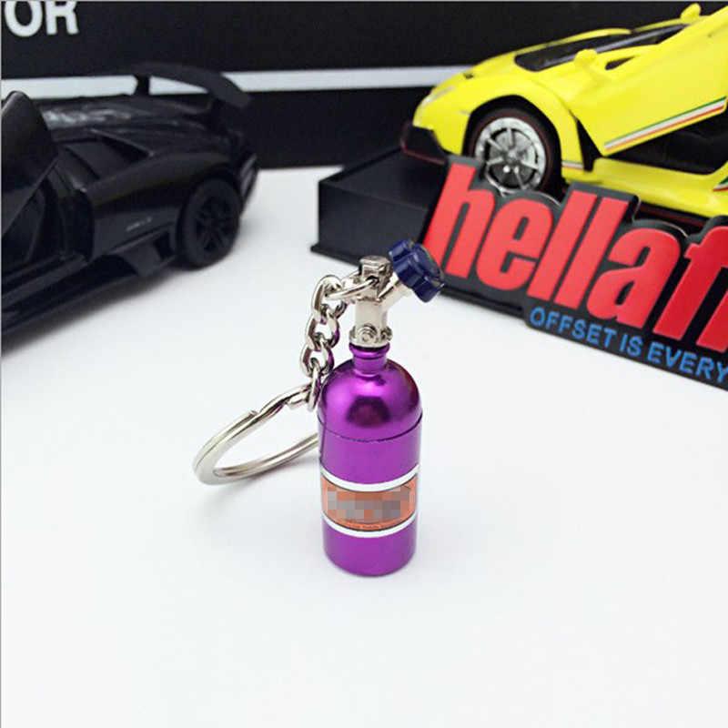 Mobil Gantungan Kunci Liontin Perhiasan untuk Wanita Pria MINI Gantungan Kunci Warna Acak Nos Turbo Botol Nitrogen Logam Gantungan Kunci pemegang