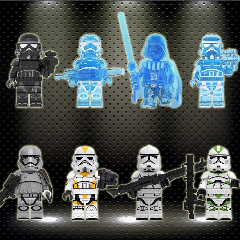Ed  Starwars Series Holographic Transparency Darth Vader Knights Of Wheel Stormtroopers Children Building Blocks Toys KT1035