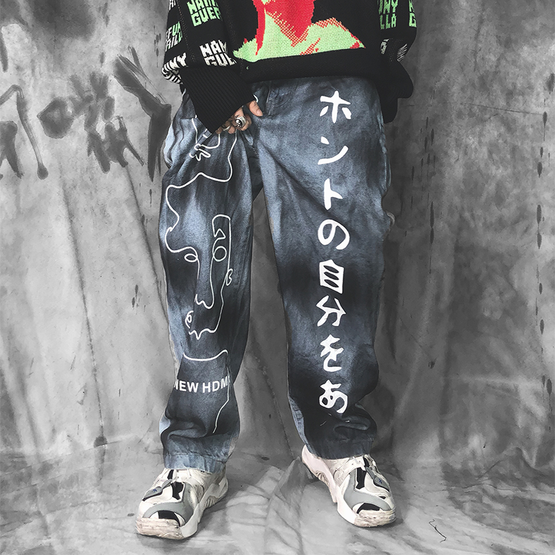 UNCLEDONJM High Street Graffiti Japanese Printed Denim Pants Mens Elastic Waist Loose Straight Jeans Hip Hop Streetwear