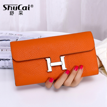 Fashion Genuine Leather Wallets For Women Female Cell Phone Pocket Long Women Purses Lady Coin Purses Card Holder Clutch Bag