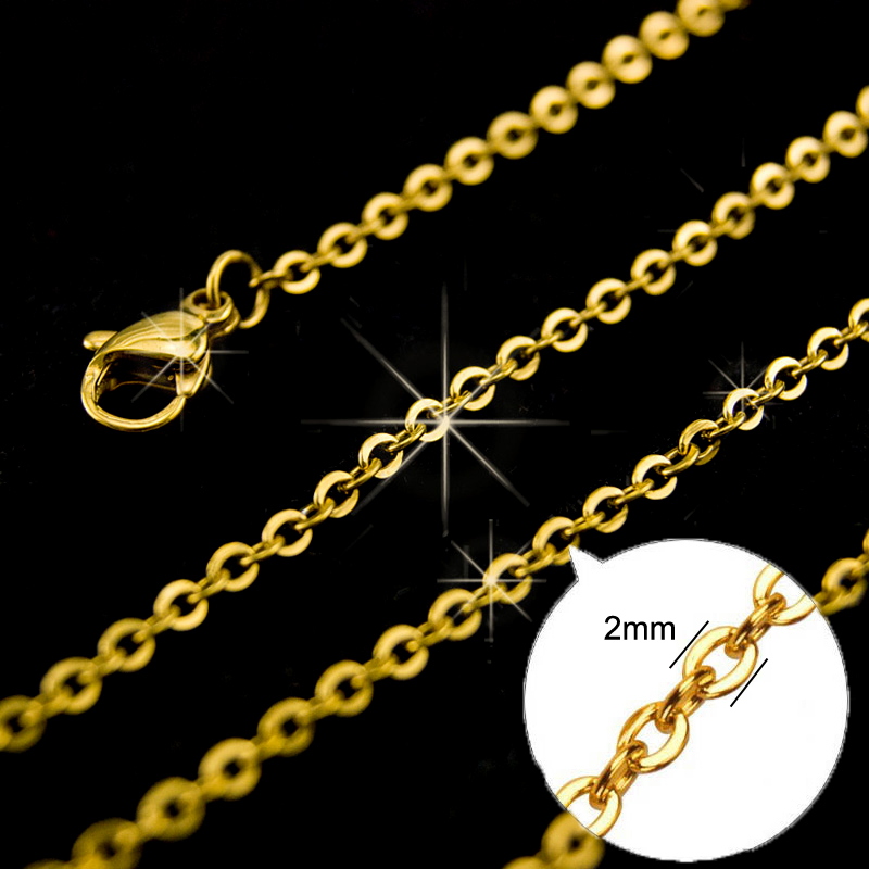 10pcs//lot Chain,2mm Gold//Silver Stainless Steel Link Chains Necklaces Fashion Je