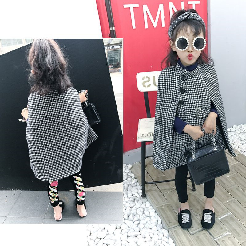2020 Spring Children Girl Thick Warm Jacket Cloak Plaid Girls Coat Kids Jacket Fashion Outwear Long Children Coats 2-7 Years Old
