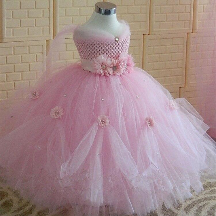 Girls Pink Flower Princess Tutu Dress Kids Crochet Evening Dress Long Ball Gown Children Birthday Party Banquet Costume Dresses