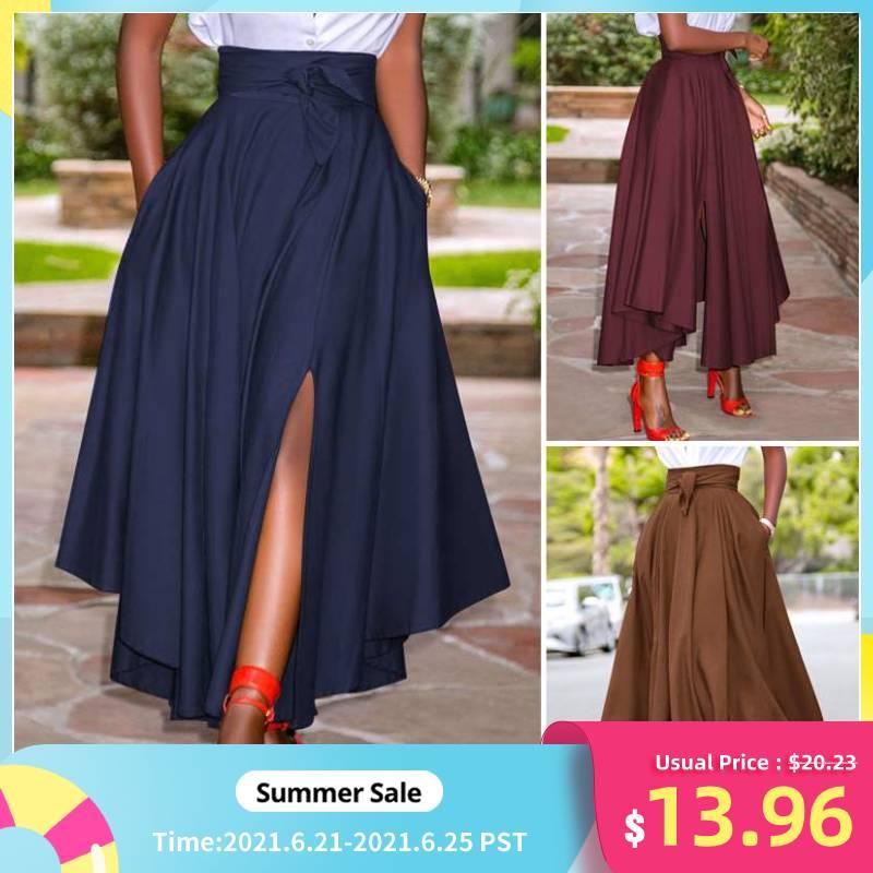 Long Maxi Skirts ZANZEA Women Skirts Summer Vintage Zipper High Waist A-line Skirt Solid Irregular Beach Skirt Faldas Saia S-5XL