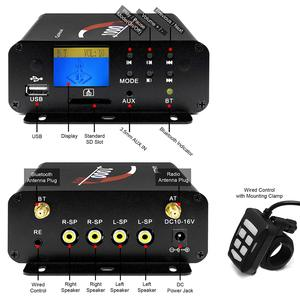 Image 5 - Aileap 1000W Motorcycle Audio 4 Channel Amplifier Speakers System, Support Bluetooth, AUX, FM Radio, SD Card, USB Stick (Chrome)