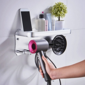 Hair Dryer Wall Mount Holder for Dyson Supersonic Hair Dryer, Punch-Free Hair Dryer Holder Bathroom Storage Rack-Silver