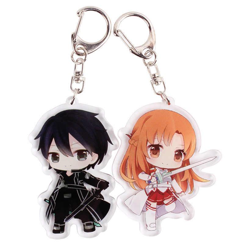 Anime Sword Art Online Cosplay anahtarlık japon karikatür SAO Asuna Krito akrilik araba anahtarlık zinciri kolye anahtarlıklar
