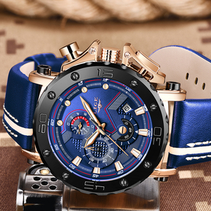 Image 5 - 2020 New LIGE Mens Watches Top Brand Luxury Big Dial Military Quartz Watch Casual Leather Waterproof Sport Chronograph Watch Men