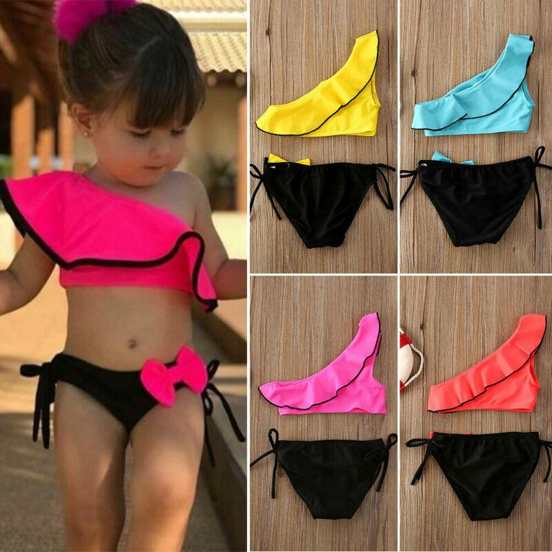 Newborn Kids Baby Girls Oblique Shoulder Bow Bikini Swimsuit Swimming Costume
