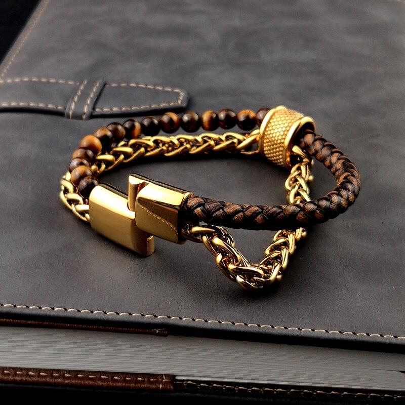 MingAo-Bracelet Chakra personnalisé avec nom, nouveau Bracelet à chaîne en or, perles, chaîne dorée à mailles magnétiques à mailles cubaines pour femmes 2