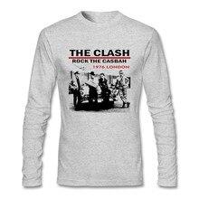 빈티지 영국 밴드 락 T 셔츠 젊은 남자 1976 런던 충돌 100% 코튼 라운드 칼라 긴 소매 티셔츠 성인을위한