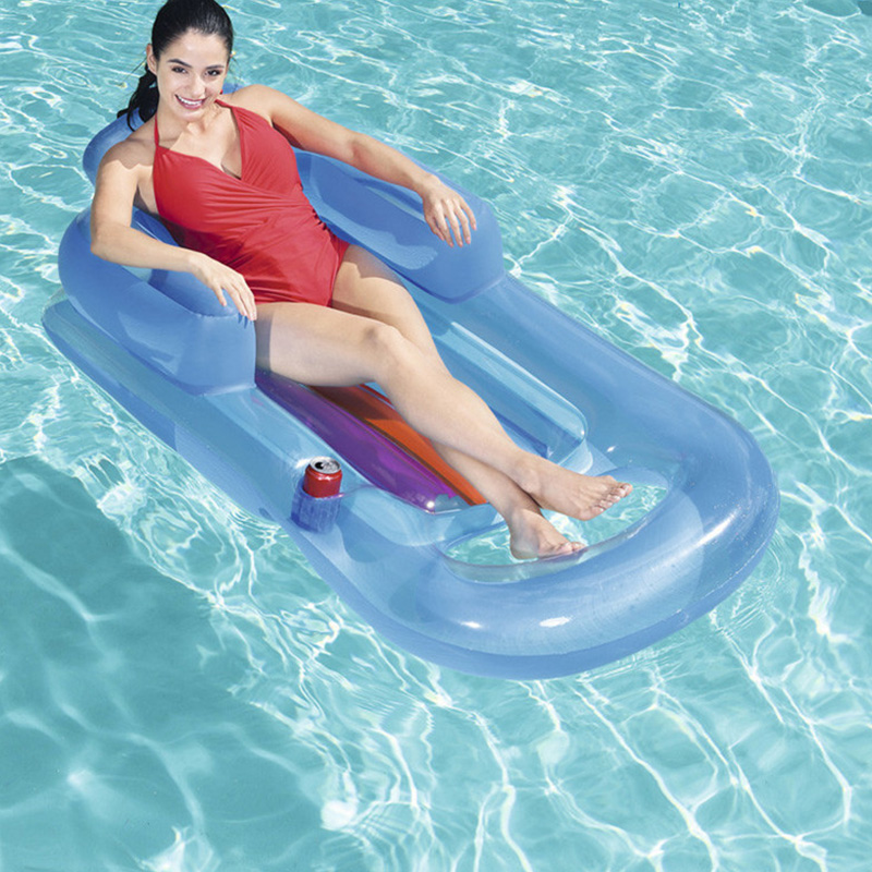 Inflatable Floating Row Beach Swimming Air Mattress Pool Floats Floating Lounge Sleeping Bed For Water Sports Party Blue