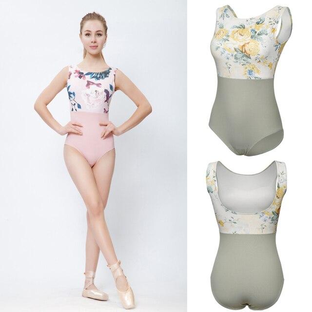 Купальник для балета с розовым принтом, женский купальник для танцев 2020, Новое поступление, летний гимнастический танцевальный костюм, балетный купальник высокого качества для взрослых