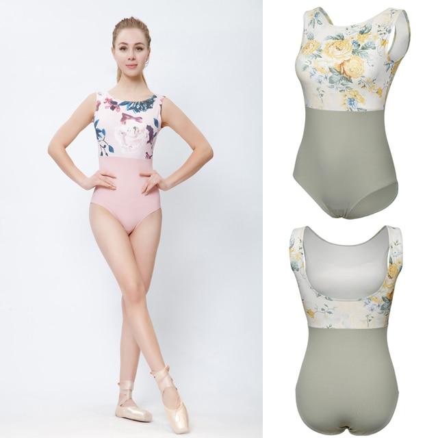 Collant de balé com estampa rosa, collant collant de dança ginástica adulto de alta qualidade para mulheres verão 2020