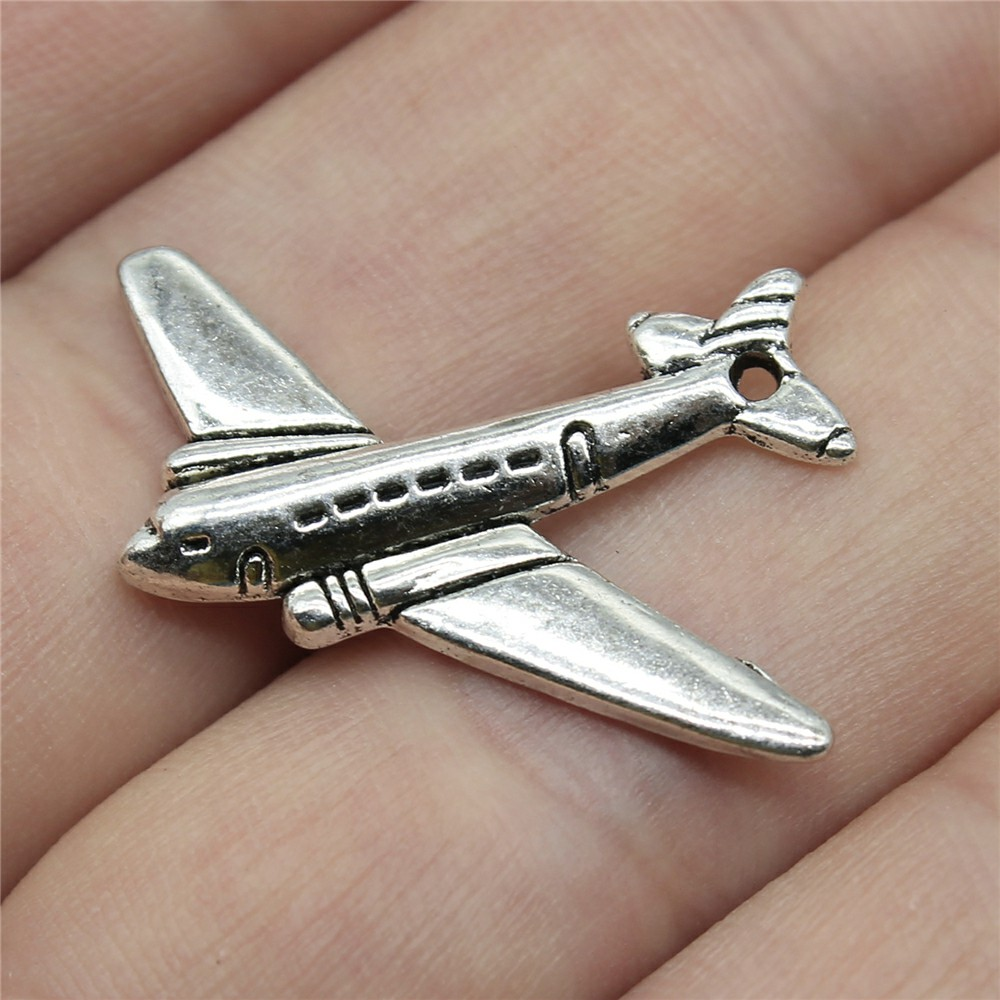 WYSIWYG 12pcs 25x31mm Airplane Charm Pendants For Jewelry Making Antique Silver Color Aircraft Pendants Charm Aircraft image