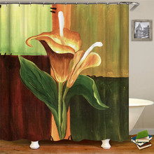 Bathroom Shower Curtain Flower Print Durable Waterproof Bath Curtain  For Home Decoration Christmas Accessories