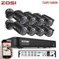 ZOSI 8CH CCTV система 1080N HDMI TVI CCTV DVR 8 шт 720P уличная инфракрасная камера видеонаблюдения 1280 TVL камера система видеонаблюдения