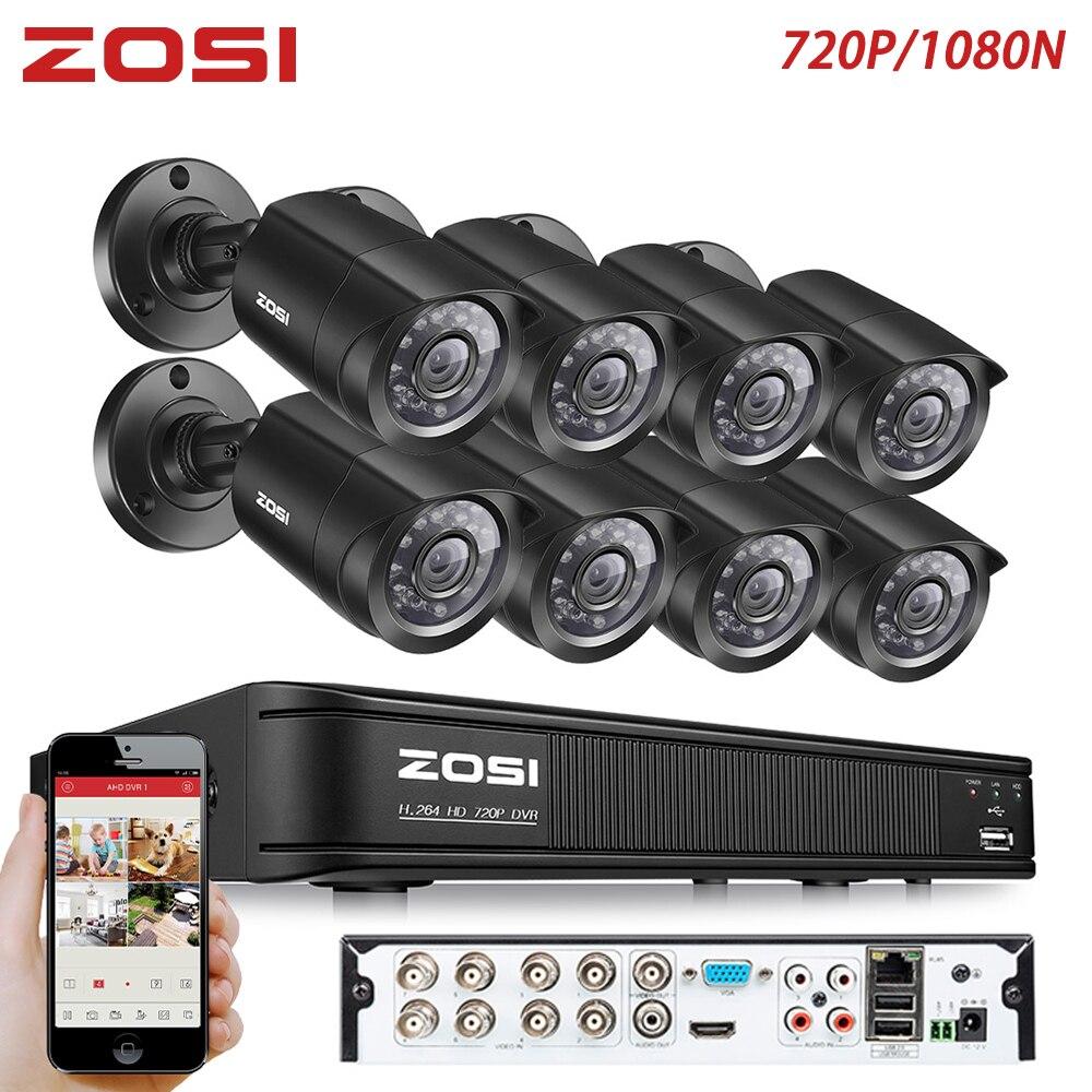 ZOSI 8CH CCTV System 1080N HDMI TVI CCTV DVR 8PCS 720P IR Outdoor Security Camera 1280 TVL Camera Surveillance System