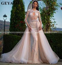 Saudi Arabia Mermaid Champagne Dubai Prom Dresses with Long Sleeve Detachable Train Arabic Evening Gowns Women Long Formal Dress