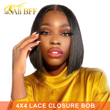 4x4 Bob Lace Closure Wig Indian Straight Human Hair for Black Women Straight Bob Lace Front Human Hair Wigs Blunt Cut Bob Wig(China)