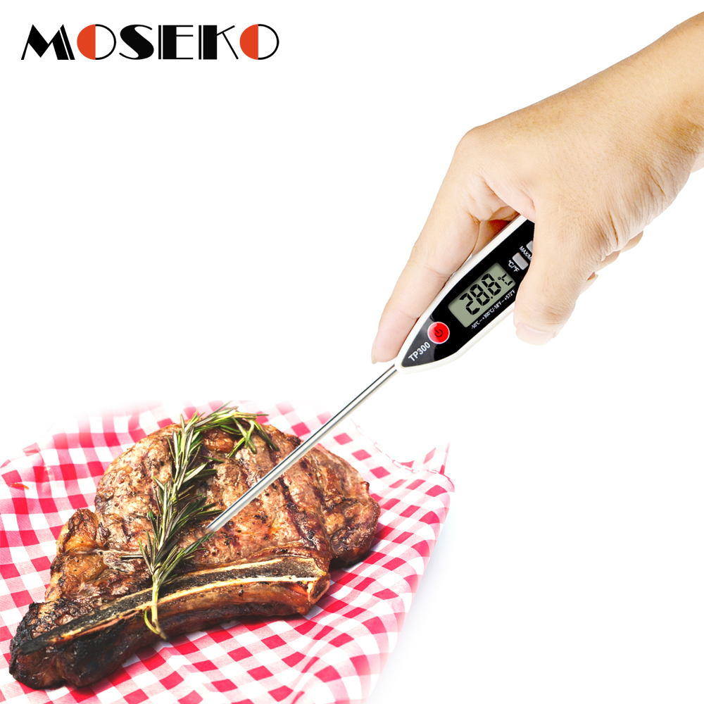 MOSEKO Newest Digital Food Thermometer for Cooked Food Barbecue and Milk with LCD Display and Temperature Control Key and Stainless Steel Probe 2