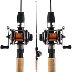 Image 2 - Sougayilang קרח חכת דיג סט 67cm קרח מוט עם מיני 3 צבע Trolling סליל שרימפס חורף דיג פיתוי קו קומבו
