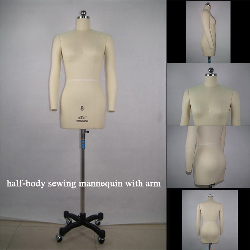 EU & US Size standards Professional level Sewing mannequin Insertable needle Half-body woman Dressmaker model with arms