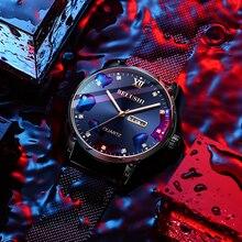 цена Men's Casual Fashion Luxury Watch Diamond Surface Quartz Watch Luminous Waterproof Calendar Men's Watch онлайн в 2017 году