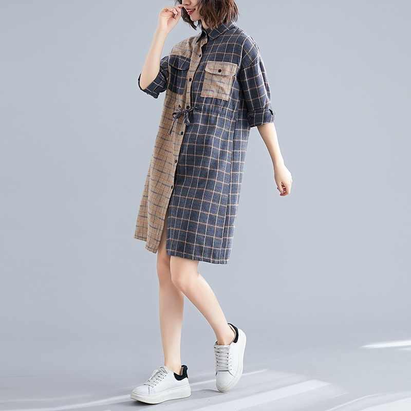 Длинный рукав, хлопок, лен, винтажный плед, плюс размер, Женская Повседневная Свободная миди Осенняя рубашка, платье, элегантная одежда 2019, женские платья