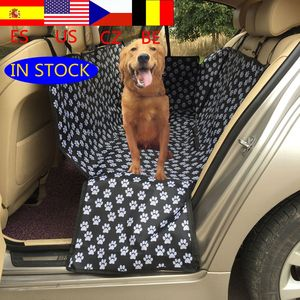 Oxford Footprint Pet Dog Carriers Rear Back Waterproof Pet Car Seat Cover Mats Hammock Protector With Safety Belt(China)