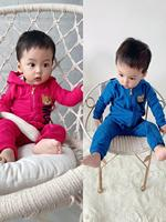 Baby letter print zipper hooded jumpsuit with box