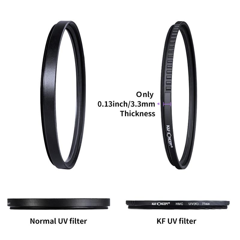 K & F Concept 37-82mm lentille filtrante UV MC optique Ultra mince avec Protection multicouche 37mm 49mm 52mm 58mm 62mm 67mm 77mm 82mm