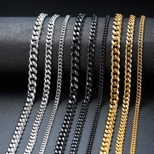 3mm/5mm/7mm Punk Stainless Steel Curb Chain Necklace Flat Link Silver Black Gold Tone Fashion 2019 Neckalce 18inch 20inch 22inch(China)