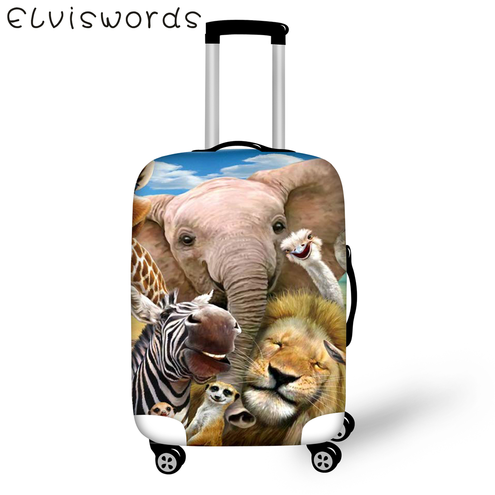 ELVISWORDS Luggage Cover Tiger Panda animals design elastic waterproof cover for suitcase accessories bag size 18 to 32 inch