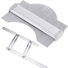 Стальной контурный калибровочный шаблон для глубокой отделки плитки стальной металлический плиточный Плинтус Ламинат профиль шаблон инструмент четырехсторонняя линейка