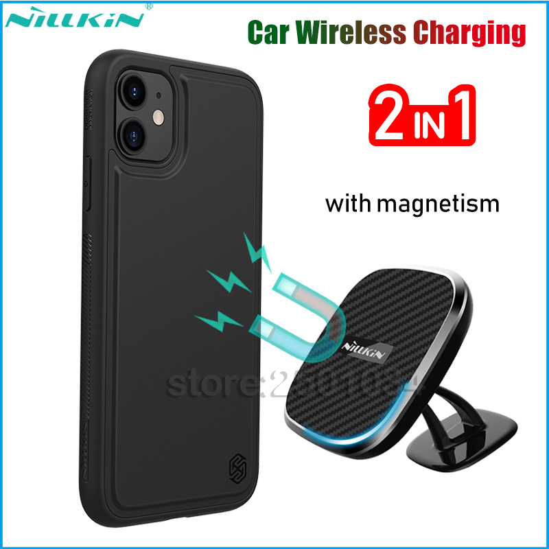 NILLKIN Qi 10W Fast Car Wireless Charging Set for iPhone 11/11 Pro/11 Pro Max Holder Magnetic Case+Magnet Car Wireless Charger