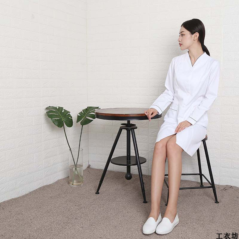 Customized  Doctor's White Coat Nurses'clothes Autumn And Winter Female Seven-minute Sleev