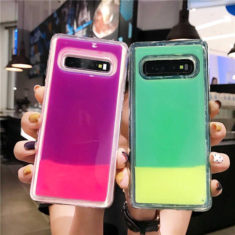 Luminous Neon Sand Case For Samsung Galaxy S8 S9 S10 Plus Note 8 9 J3 J5 J4 J6 J8 A6 A7 A8 A9 2018 A10 A20 A30 A40 A50 A70 Cover