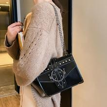 Small Square Chain Shoulder Bag Women Handbag Fashion Korean Style Retro Rivet Crossbody Bags Luxury Handbags Women Bag Designer цены онлайн