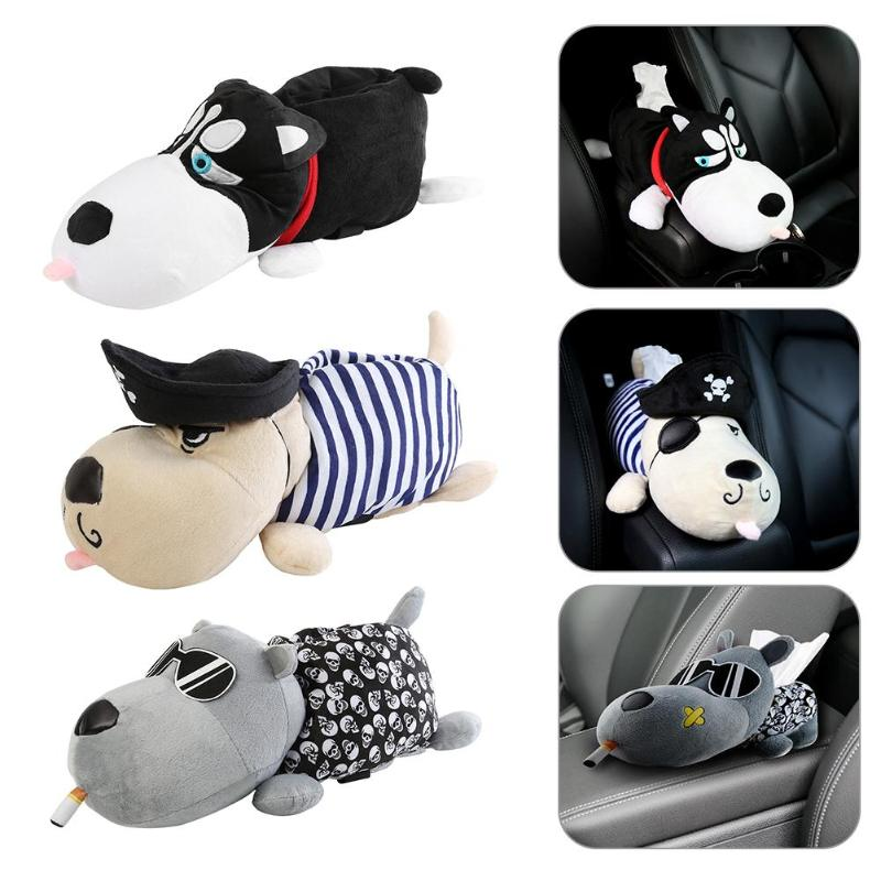 Cartoon Tissue Box Car Auto Armrest Box Animal Paper Napkin Cover Holder