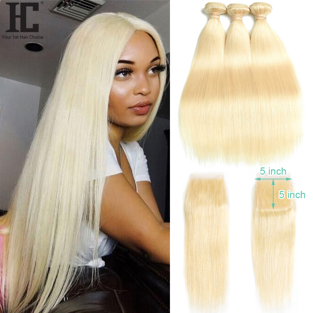 613 Bundles With 5x5 Closure Brazilian Straight Human Hair Weave Blonde Bundles With Closure Lace Closure With 2 3 Bundles Remy