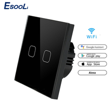 EsooLi 86 유형 터치 스위치 스마트 라이트 스위치 wifi 라이트 스위치 APP 무선 원격 EU 표준 Alexa Google 홈으로 작동
