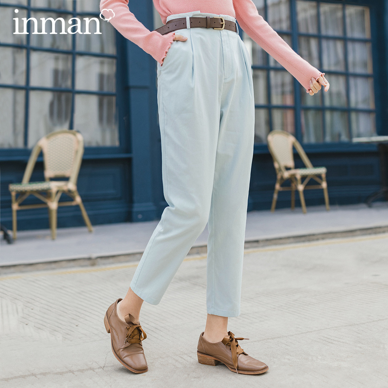 INMAN 2020 Spring New Arrival Literary Medium Waist Hip Pant Pencil Pant Slimmed Long Pant