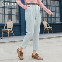 INMAN, весна 2020, Новое поступление, литературные, средняя талия, бедра, брюки карандаш, стройнящие, длинные штаны